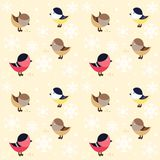 Seamless pattern with small funny birds. On beige background Royalty Free Stock Photos