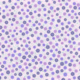 Seamless pattern with small gentle daisy flowers in pink, blue. Light violet color on white background. Can be used for wallpaper, fabric, wrapping paper Stock Photos