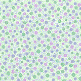 Seamless pattern with small gentle daisy flowers in pink, green. Light violet color on white background. Can be used for wallpaper, fabric, wrapping paper vector illustration