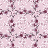 Seamless pattern small gray and deep pink flowers and branches on a pink background. Floral background. Watercolor stock photography