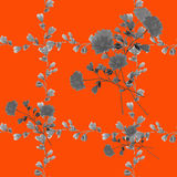 Seamless pattern small gray flowers and bouquets and gray branches on a red background. Watercolor stock images