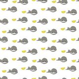 Pattern with a small mouse and yellow cheese vector illustration