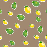 Seamless pattern with small lemons and limes with green leaves. Brown background. Stock Image