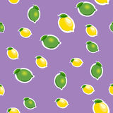 Seamless pattern with small lemons and limes with green leaves. Purple background. Stock Image