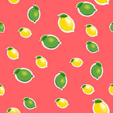 Seamless pattern with small lemons and limes with green leaves. Red background. Royalty Free Stock Image
