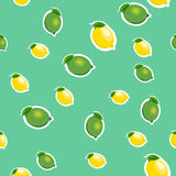 Seamless pattern with small lemons and limes with green leaves. Turquoise background. Royalty Free Stock Photos