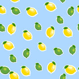 Seamless pattern with small lemons and limes with leaves. Blue background. Royalty Free Stock Photography