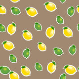 Seamless pattern with small lemons and limes with leaves. Brown background. Royalty Free Stock Photography