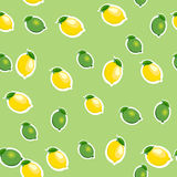 Seamless pattern with small lemons and limes with leaves. Light green background. Stock Images