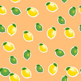Seamless pattern with small lemons and limes with leaves. Orange background. Seamless pattern with small lemons and limes stickers different sizes with leaves royalty free illustration