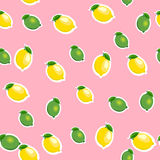 Seamless pattern with small lemons and limes with leaves. Pink background. Stock Photo