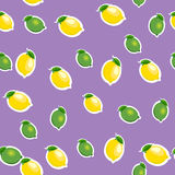 Seamless pattern with small lemons and limes with leaves. Purple background. Stock Photography