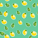 Seamless pattern with small lemons and limes with leaves. Turquoise background. Stock Photo