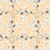 Seamless pattern small light beige flowers and beige branches on a beige background. Floral background. Watercolor stock images