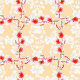 Seamless pattern small light beige flowers and red branches on a beige background. Floral background. Watercolor royalty free stock image