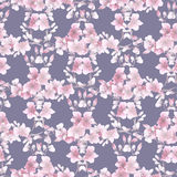Seamless pattern small light pink flowers and branches on the gray background. Floral background. Watercolor royalty free stock photos