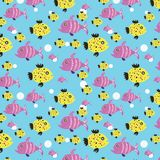 Seamless pattern of small oceanic fish. For printing on fabric, textile, cardboard, paper and other surfaces, as well as for use in other areas of activity vector illustration