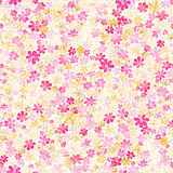Seamless pattern with small pink, crimson and yellow flowers. Wa Royalty Free Stock Images