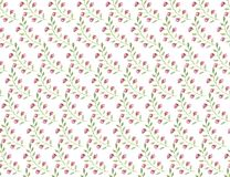 Seamless pattern small pink flowers and leaf on white background stock illustration