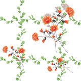 Seamless pattern small red flowers and bouquets and green branches on a white background. Watercolor stock photography