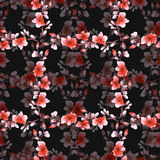Seamless pattern small red flowers and cell on the black background. Floral background. Watercolor stock photography