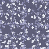 Seamless pattern small violet branches and light leaves on a deep gray background. Floral background. Watercolor royalty free stock photo