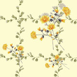 Seamless pattern small yellow flowers and bouquets and beige branches on a light yellow background. Watercolor Royalty Free Stock Photo