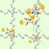 Seamless pattern small yellow flowers and bouquets and gray branches on a green background. Watercolor stock photography