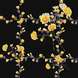 Seamless pattern small yellow flowers and bouquets and yellow branches on the black background. Watercolor stock photos