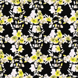 Seamless pattern small yellow flowers and branches on the black background. Floral background. Watercolor royalty free stock images