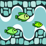 Seamless pattern with smalts and fishes Stock Photo