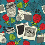 Seamless pattern with smart owl. Royalty Free Stock Photography