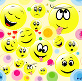 Seamless pattern of smiley faces expressing different feelings. Royalty Free Stock Photo