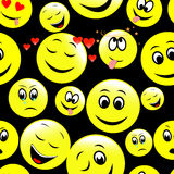 Seamless pattern of smiley faces expressing different feelings. Stock Image