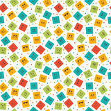 Seamless pattern with smiley squares. Cute cartoon characters.  Stock Images