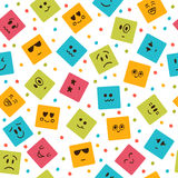 Seamless pattern with smiley squares. Cute cartoon characters. Vector illustration Stock Photo