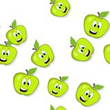 Seamless pattern with smiling apples on white Stock Images