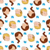 Seamless pattern with smiling boy and girl. Children cute chirping on various topics. Vector illustrations Stock Images