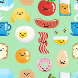 Seamless pattern with smiling breakfast food. Stock Photo