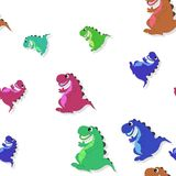 Seamless pattern with smiling colorful dragon on white Royalty Free Stock Photo
