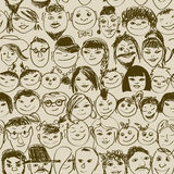 Seamless pattern of smiling crowd people Royalty Free Stock Photos
