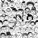 Seamless pattern of smiling crowd people. Seamless pattern with doodle portraits of smiling crowd people Stock Photography