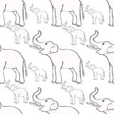 Seamless pattern smiling the elephant sideways up the trunk . ve Royalty Free Stock Images
