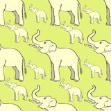 Seamless pattern smiling the elephant sideways up the trunk . ve Royalty Free Stock Photos