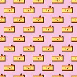 Seamless pattern of smiling kawaii style cake with different facial expressions on a pink background vector illustration Stock Photo