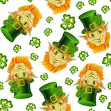 Seamless pattern with smiling leprechaun heads royalty free illustration