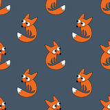 Seamless pattern with smiling little fox. Baby animal vector illustration. Royalty Free Stock Photos