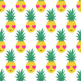 Seamless pattern with smiling pineapples in love. Seamless pattern with smiling pineapples in love for kids holidays. Vector pineapple background. Cute summer Stock Photo