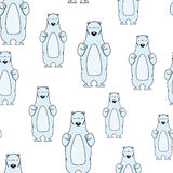Seamless pattern with smiling polar bear Stock Images