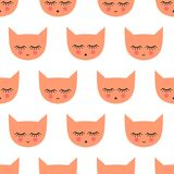 Seamless pattern with smiling sleeping cats for kids holidays. Stock Image